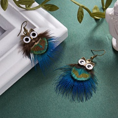 1Pair Fashion Animal Owl Feather Earrings for Women Jewelry owl mutli peacock feathers