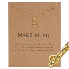 Gold Plated Moon Note Charms Pendant Chain Necklace Women Girls Jewelry Gifts Make music