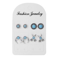 Fashion Vintage Geometric Round Hollow Flower Stud Earrings Set Jewelry Arrows
