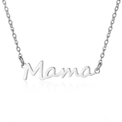 Mama Mother's Day Stainless Steel Alphabet Letter Pendant Necklace Silver