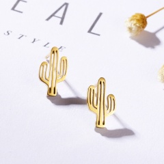 Cute Plant Cactus Stainless Steel Stud Earrings for Girl Jewelry Gold