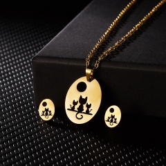 New Fashion Stainless Steel Gold Lovely Animal Cat Earrings Necklace Jewelry Set Cat