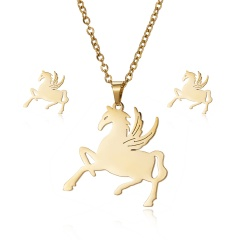 New Fashion Stainless Steel Gold Lovely Animal Cat Earrings Necklace Jewelry Set Horse