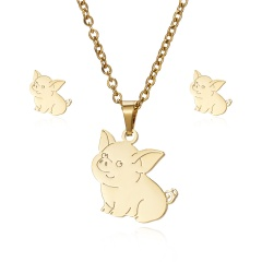 New Fashion Stainless Steel Gold Lovely Animal Cat Earrings Necklace Jewelry Set Pig
