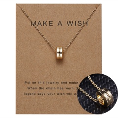 Women Charm Gold Geometric Circle Hollow Pendant Paper Card Necklace Jewelry Hot Circle