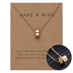 Women Charm Gold Geometric Circle Hollow Pendant Paper Card Necklace Jewelry Hot Round bean