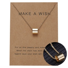 Women Charm Gold Geometric Circle Hollow Pendant Paper Card Necklace Jewelry Hot Circle hollow