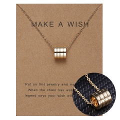 Women Charm Gold Geometric Circle Hollow Pendant Paper Card Necklace Jewelry Hot Geometric circle hollow