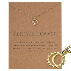 Simple Sun Leaf Wing Charms Pendant Chain Necklace Womens Fashion Jewellery Hot Forever summer