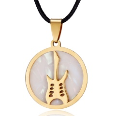 Fashion Gold Stainless Steel Shell Leather Pendant Necklace Women Jewelry Gift Guitar