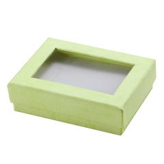 Rectangular Paper Earrings Necklace Ring Set Decoration Box Green