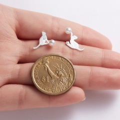 Cute Cat Animal Stud Earrings Women Jewelry Cat