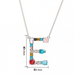 Women Colorful Crystal Initial Alphabet Letter A-Z Pendant Necklace Jewelry Gift E