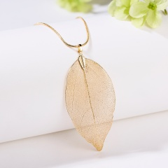 Unique Real Natural Dried Leaf Leaves Skeleton Necklace Pendant Leather Chain Gold