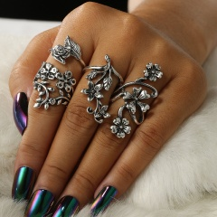 Vintage 12Pcs/ Set Silver Gold Boho Arrow Moon Flower Midi Finger Knuckle Rings 10Pcs-Thread