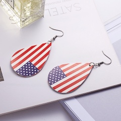 Flag Print Waterdrop Teardrop Earrings for Women PU Leather Eardrop Female Party Jewelry Bar stripe