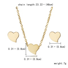 Fashion Stainless Steel Gold Animal Cat Stud Earrings Necklace Jewelry Set Gift Heart