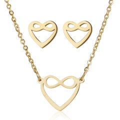 Fashion Stainless Steel Gold Animal Cat Stud Earrings Necklace Jewelry Set Gift Heart 1