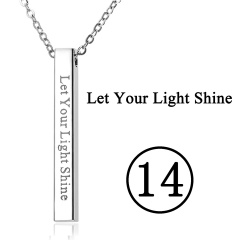 Rectangular Pendant Stainless Steel With Lettering Necklace 14