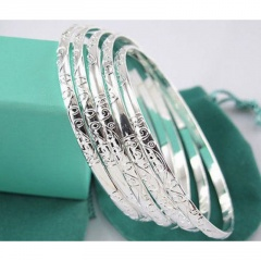 5pcs/ lot Silver Bracelets Carving Pattern Bracelets & Bangles for Women Birthday Party Gift Female Wristband Jewelry 5pcs/lot