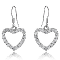 Exaggeration Silver Crystal Stud Earrings Heart V Dangle Party Womens Fashion Jewelry Heart