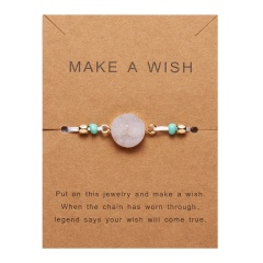 Rinhoo Make a Wish Colorful Natural Stone Woven Paper Card Bracelet Adjustable Lucky Red String Bracelets Femme Fashion Jewelry WHITE