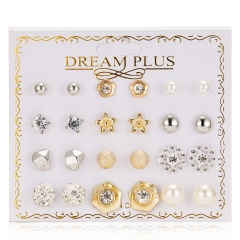 12 Pairs Fashion Zircon Crystal Pearl Earrings Set Women Geometric Ear Stud Jewelry Party Star