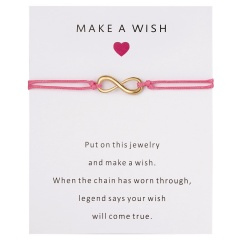 Wish Card Forever Love Infinity 8 Bracelet for Lovers Red String Charm Bracelets Women Men's Wish Jewelry Gift 5 Colors PINK