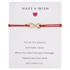 Wish Card Forever Love Infinity 8 Bracelet for Lovers Red String Charm Bracelets Women Men's Wish Jewelry Gift 5 Colors RED