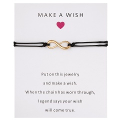 Wish Card Forever Love Infinity 8 Bracelet for Lovers Red String Charm Bracelets Women Men's Wish Jewelry Gift 5 Colors BLACK