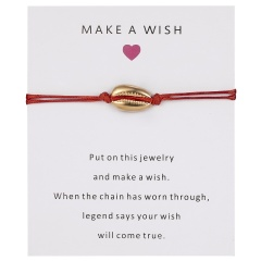 5 Colors Nature Shell Charm Bracelet Wish Card Gift Handmade Red String Bracelets for Women Men Kids Fashion Jewelry RED