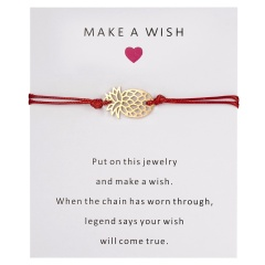 Wish Card Alloy Gold Color Pineapple Charm Bracelet for Lovers Red String Weave Bracelets Women Men's Wish Jewelry Gift 5 Colors RED