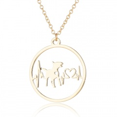 Fashion Gold Silver Stainless Steel Hollow ECG Pendant Necklace Women Jewelry Gold