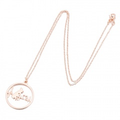 Fashion Gold Silver Stainless Steel Hollow ECG Pendant Necklace Women Jewelry Rose Gold