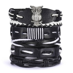 Men Bracelets Vintage Multilayer Leather Braid Bracelets Bangles Star Leaf Owl Handmade Rope Wrap Bracelets Male Gift Jewlery SET 2