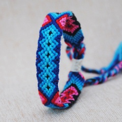 Ethnic Multi-color Hand Weave Braided Bracelets for Women Bohemian Vintage Cotton Rope Charm Bracelets Summer Jewelry Color 5