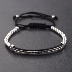 4mm copper beads zircon adjustable braided bracelet fashion jewelry gift for women girls bracelet silver