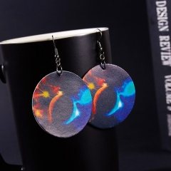 Charm Planet Universe Solar System Galaxy Leather Dangle Hook Earrings Lady Gift Solar system