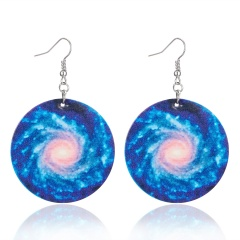 Charm Planet Universe Solar System Galaxy Leather Dangle Hook Earrings Lady Gift Galaxy