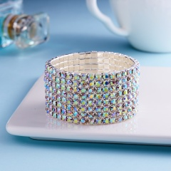1pc Hot Silver Bracelet Rhinestone Women Shine Crystal Bridal  Bangle Delicate Wedding Simple Jewelry Gift 8 rows multicolor