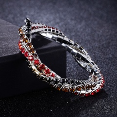 3 winding rhinestone bracelet fashion multi-color ladies exquisite bracelet bridal party jewelry accessories gift Red + black + brown