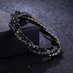 3 winding rhinestone bracelet fashion multi-color ladies exquisite bracelet bridal party jewelry accessories gift black