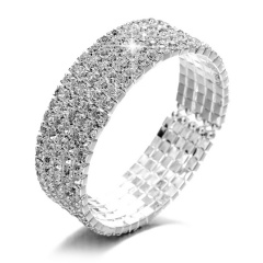 Wedding Bridal Women Full Crystal Rhinestone Silver Bracelet Cuff Bangle Jewelry Gift 5 Rows