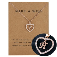 G-K Letter Fashion Crystal Heart Necklace Pendant Sweater Women Chain Jewelry H