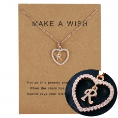 Fashion Womens Gold Plated Initial Alphabet Letter Q-U Pendant Chain Necklaces R