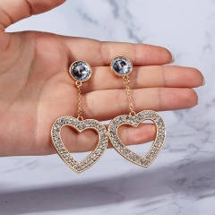 Chic Crystal Rhinestone Bling Earrings Ear Stud Circle Heart Love Hoop Lady Gift Gold Heart