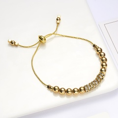 Fashion Rhinestone Beaded Bracelet Gold Bead Bracelet Charm Classic Jewelry Accessories Gift gold