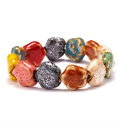 Rinhoo Ceramic stone beaded Bracelet Boho Multicolor flower Square Round stone beads elastic bracelet summer women bracelet gift small rose beads