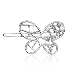 Hollow - out inlay diamond pearl edge clip retaining hairpin hairpin hair accessories The butterfly
