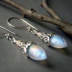 2020 Silver Turquoise Ear Hook Stud Drop Dangle Moonstone Sapphire Earrings Blueshine